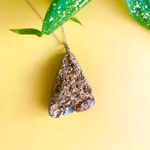 Gold Metallic Druzy Boho Necklace